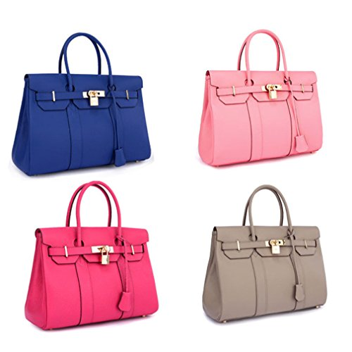 "Palace Bk Style Genuine Leather Top-handle Crossbody Women Bag 13.8"" 35cm - 5 Cols."