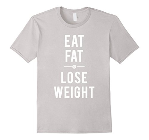 Mens EAT FAT LOSE WEIGHT KETO AF Low Carb Ketogenic Diet T-Shirt 2XL Silver