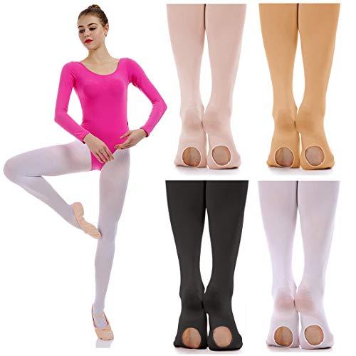 iMucci Ballet Dance Tights - Velet Convertible Ballerina Dancing Stockings Beige S 3-5Years