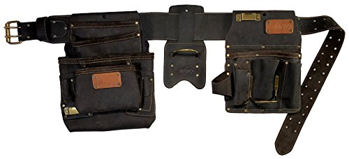 OX Tools Oil Tanned Top Grain Leather Drywaller's Rig, 22 tool pockets, Fastener Bag OX-P263804