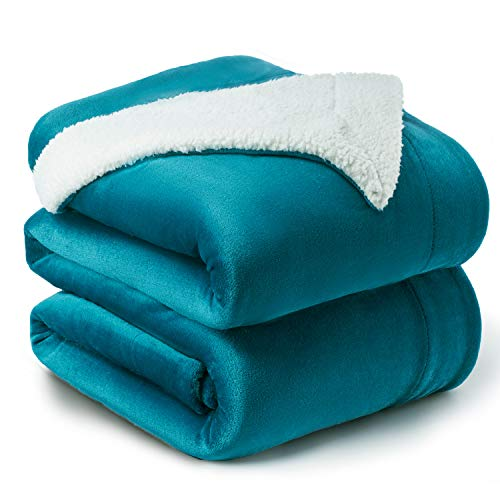 Bedsure Sherpa Fleece Blanket King Size Teal Plush Blanket Fuzzy Soft Blanket Microfiber