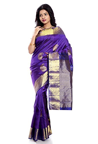 Mandakini — Indian Women's Kanchipuram - Handloom - Pure Silk Saree (Magenta ) (MK241) by Mandakini (Image #6)