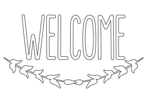 Welcome Vinyl Front Door Decal - Welcome Vinyl Decal with Laurel Wreath Symbol, Home or Business Decal 9.5