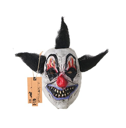 Full Face Scary Clown Latax Mask Black Hair Horror Masquerade Adult Ghost Party Mask Halloween Props Costumes Fancy Dress