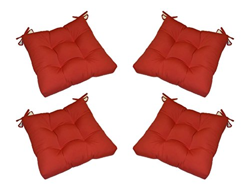 Set of 4 - Indoor / Outdoor Solid Red Universal Tufted Seat Cushions with Ties for Dining Patio Chairs - Choose Size (20