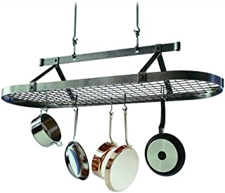 product image for Enclume Premier 5-Foot Oval Ceiling Pot Rack, Hammered Steel