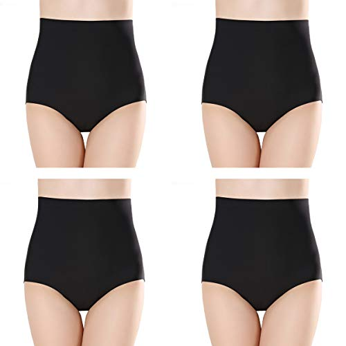 - Closecret Women Multipack Seamless Ice Silk Underwear High Waist Full Coverage Tummy Control Brief Panties (S(Waist:26-27inch), 4 Black)
