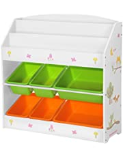 SONGMCIS Toy and Book Organiser for Children, with 3-Tier Bookshelf and 6 Removable Bins, Wooden Storage Unit and Rack for Playroom, Kid's Room, Nursery, White, Green, and Orange GKR44WTV1