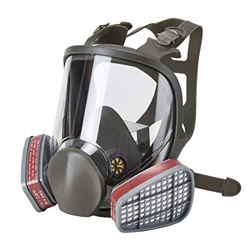 Holulo Full Face Facepiece Respirator Paint Spray Mask with 2 x Organic Vapor ()