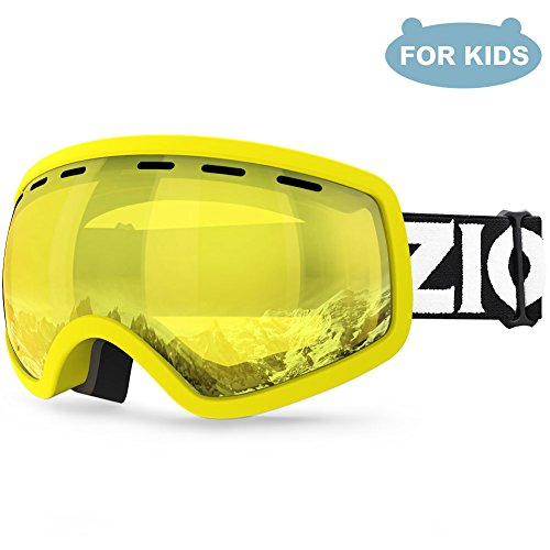 ZIONOR Lagopus X Mini Kids Snowmobile Snowboard Skate Ski Goggles with 100% UV Protection Anti-fog Detachable Wide Angle Double Panoramic Lens for (Youth Lens)