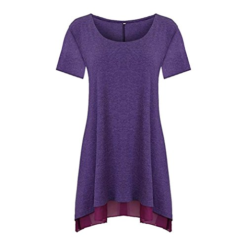 Amazon.com: T Shirts, Womens Short Sleeve Solid Lace Casual Loose Long Blouse Tops FORUU: Clothing