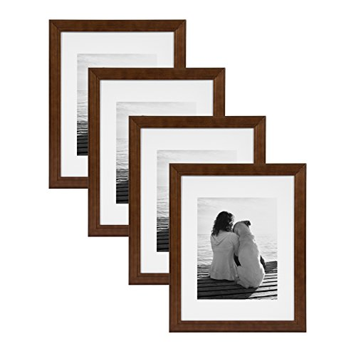 DesignOvation Kieva Solid Wood Picture Framess, Espresso Brown 11x14 matted to 8x10, Pack of - Walnut Espresso