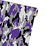auto wrap camo - Snow White Purple Black Gray Camo Camouflage Vinyl Car Wrap Film Sheet + Free Cutter, Cleaning cloth, Scissors & Squeegee (6ft x 5ft / 72