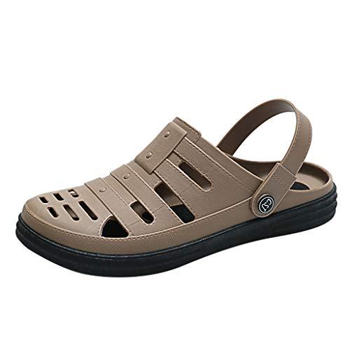 Kinglly Men's Summer Non-Slip Sandals Soft Soles Breathable Casual Beach Shoes Clogs Moccasins Khaki