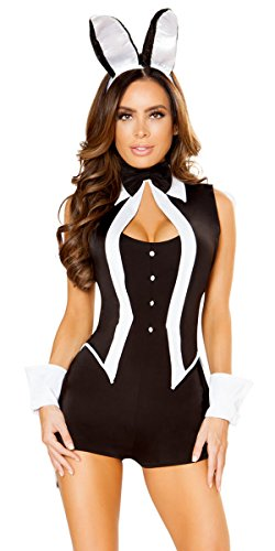 Musotica Sexy Playboy Bunny Tuxedo Romper Costume with Accessories - Black/White - M/L