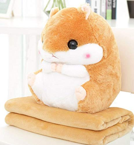 EXTOY Yunnasi Plush Hamster Pillow with Blanket Stuffed Animals Soft Toys for Children Girls Birthday Sleeping Bedroom Carpet Baby Boy Must Haves Toddler Favourite by EXTOY