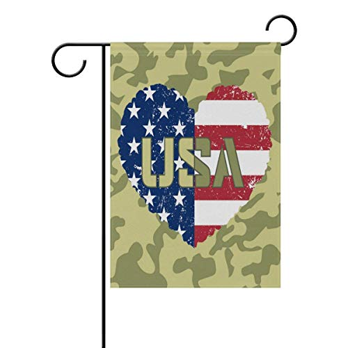 Brownnrio American Flag Heart Military Personalized Garden F