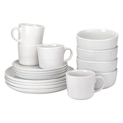 10 Strawberry Street Double Line 16 Piece Dinnerware Set, White