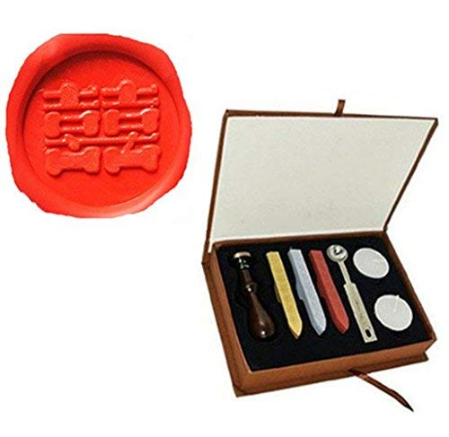 Vintage Chinese Character Double Happiness Picture Logo Wedding Invitation Wax Seal Sealing Stamp Sticks Spoon Gift Box Set Kit Double Happiness Wedding Invitations