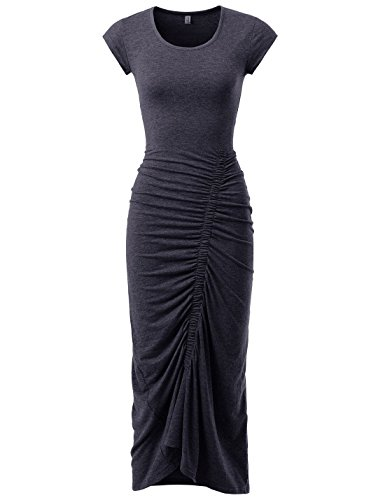 Shirred Knit Dress (NEARKIN (NKNKWBD801 Womens Cap Sleeve Figure Hugging Scoop Neck Shirred Maxi Dress Charcoal US L(Tag Size XL))