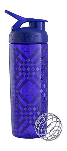 BlenderBottle SportMixer Signature Sleek Shaker Bottle, Tartan Plaid Purple, 28-Ounce