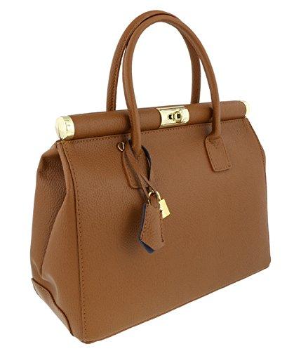 [HS Collection HS8005 CU MINERVA Tan Satchel/Shoulder Bag] (Minerva Collection Fashion)