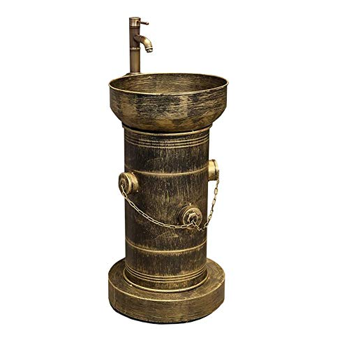 BATHYJ Wash Basin, Iron Art, Loft Industrial Style Floor-standing Bathroom Sink (color : Bronze)