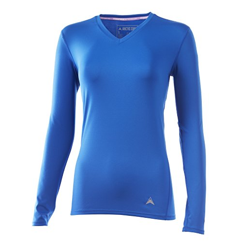 - Arctic Cool Women's Solid V-Neck Instant Cooling Long Sleeve Shirt with UPF 50+ Sun Protection, Polar Blue, XL