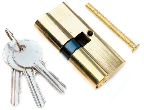 Bulk Hardware 5-Pin 30 x 30mm/ 60mm Euro Double Profile Cylinder Lock - Polished (Profile Polished Brass)