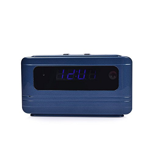 Wi-Fi Spy Camera Alarm Clock Nanny Cam 1080P CMOS Video Recorder With Motion Detection Home Security Hidden Camera Loop Recording,Blue