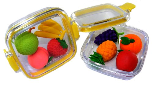 Japanese Erasers In A Mini Bento Box - Fruit Assortment - - Eraser Box