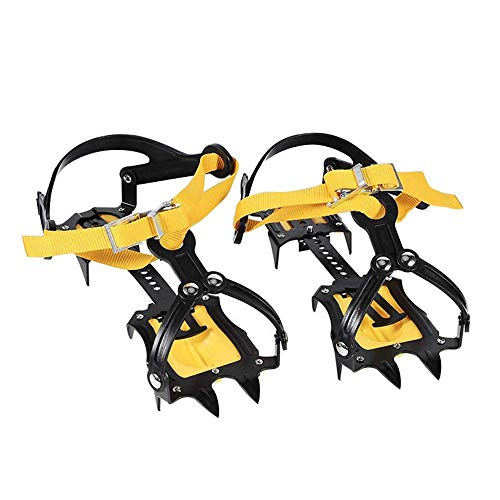 Nail Crampon, 10 Teeth Adjustable Steel Crampons Winter Youth Women Men, Adult Ski Trail Crampons Lightweight Crampon Case Walking on Snow Ice-1 Pair ()