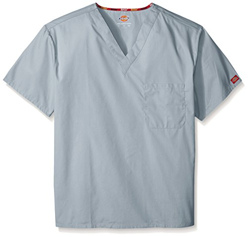 Dickies Men's Big and Tall Eds Signature Unisex V-Neck Scrub Top, Grey, XXX-Large (3xl Tops Scrub)