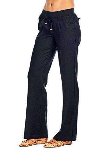 Acua Linen Boho Drawstring Pants (Black, (Rayon Drawstring)