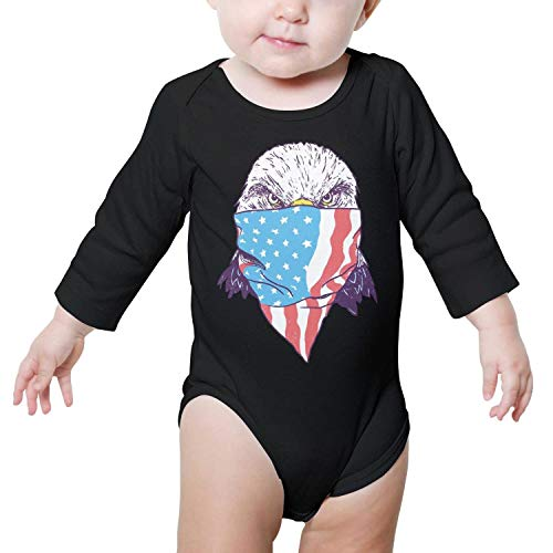 Godfer Arabe. Unisex Long Sleeve face of The Masked American Flag Eagle Baby Onesies Bodysuit Jumpsuit