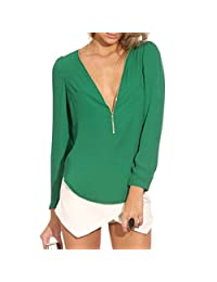 QIYUN.Z Women Loose Chiffon Blouse Shirt Long Sleeves V-neck Zipper Chemises