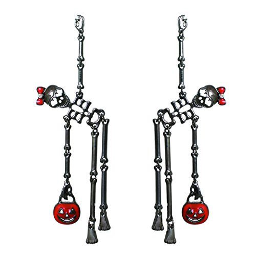 Rosemarie Collections Women's Dancing Skeletons Halloween Earrings (Hematite Color)