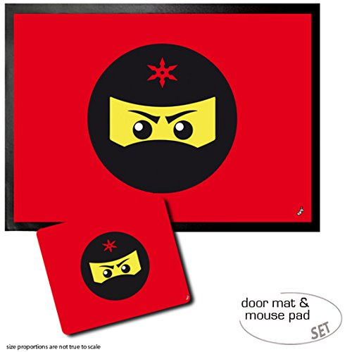 Amazon.com: 1art1 Gaming, Ninja Icon, Red Door Mat Floor Mat ...