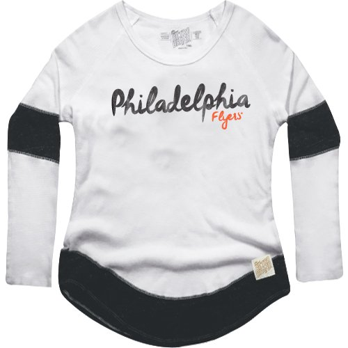 NHL Philadelphia Flyers Women's Boyfriend Thermal Top, Large, White/Black Flyers Fan