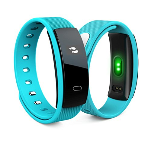 Price comparison product image Smart Band Bracelet,  Gotd QS80 Bluetooth Smart Bracelet Watch Fitness Heart Rate Monitor For Android IOS,  time,  date,  steps,  distance , calories and heart rate, Alarm Clock, Calls / SMS Reminder (Blue)