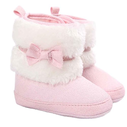 Voberry Baby Toddler Girls Boys Winter Warm Snow Boot Fur Trimmed Boots Outdoor (12~18Month, Pink)