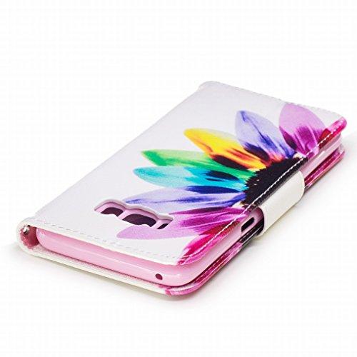 Custodia Samsung Galaxy S8 Cover, Ougger Colorato Fiore Portafoglio PU Pelle Magnetico Stand Morbido Silicone Flip Bumper Protettivo Gomma Shell Borsa Custodie con Slot per Schede