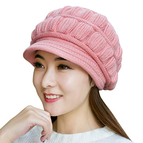 Muryobao Winter Hat Crochet Knit Slouchy Beanie Cap Outdoor Warm Snow Ski Knitted Hats with Visor for Women Pink