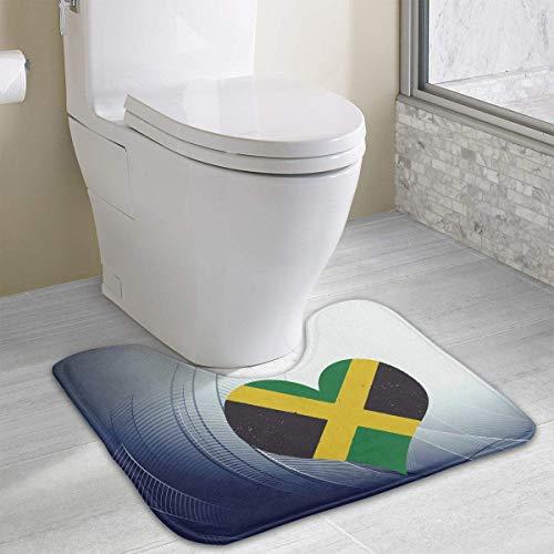 Bennett11 Jamaica Flag Jamaican Heart U-Shaped Toilet Floor Rug Non-Slip Toilet Carpets Bathroom Carpet 19.2″x15.7″