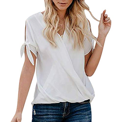 FORUU 2019 Surprise Best Gift for Girlfriend Lover Wife Party Under 5 Women's Casual Short Sleeve Hollowing Out V-Neck Solid Blouse Tops with Bow