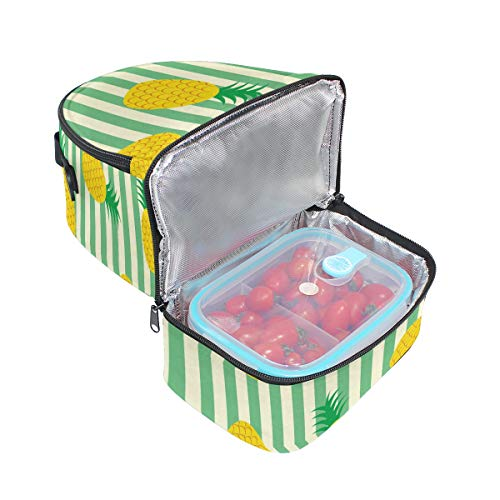 Tote Motif Cooler avec pour isotherme rayures Alinlo Boîte l'école Ananas réglable lunch Pincnic à bandoulière à Sac zTwSC