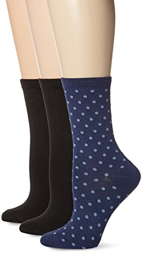 K. Bell Women's Soft and Dreamy 3 Pack Crew, Navy Assorted Pin Dot, 9-11 (Rugby Navy Womens)