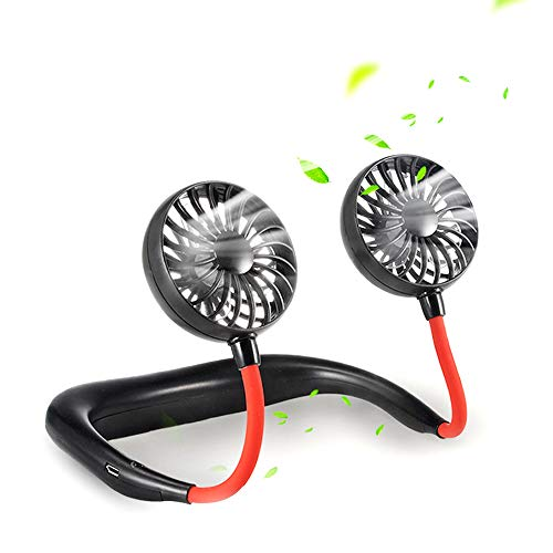 SIENON Portable Fan Hand Free Neck Fan Headphone Design Rechargeable Mini USB Personal Fan Wearable Sports Fan with 3 Speeds 360 Degree Adjustment Dual Wind Head for Home Office Travel Outdoor Indoor