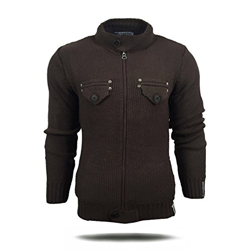 R-Neal Herren Pullover Grobstrick Strickjacke Zipper Pulli Sweatshirt Jacke 6777, Größe:XL, Farbe:Anthrazit