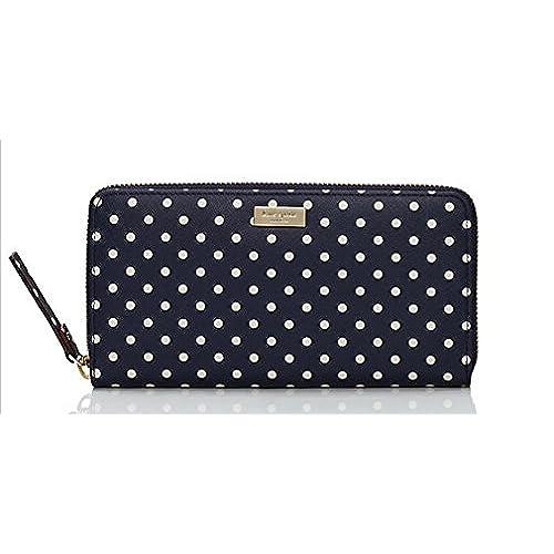 466735935294 chic Kate Spade Grant Street Grainy Vinyl Neda Wallet Bag French Navy Cream